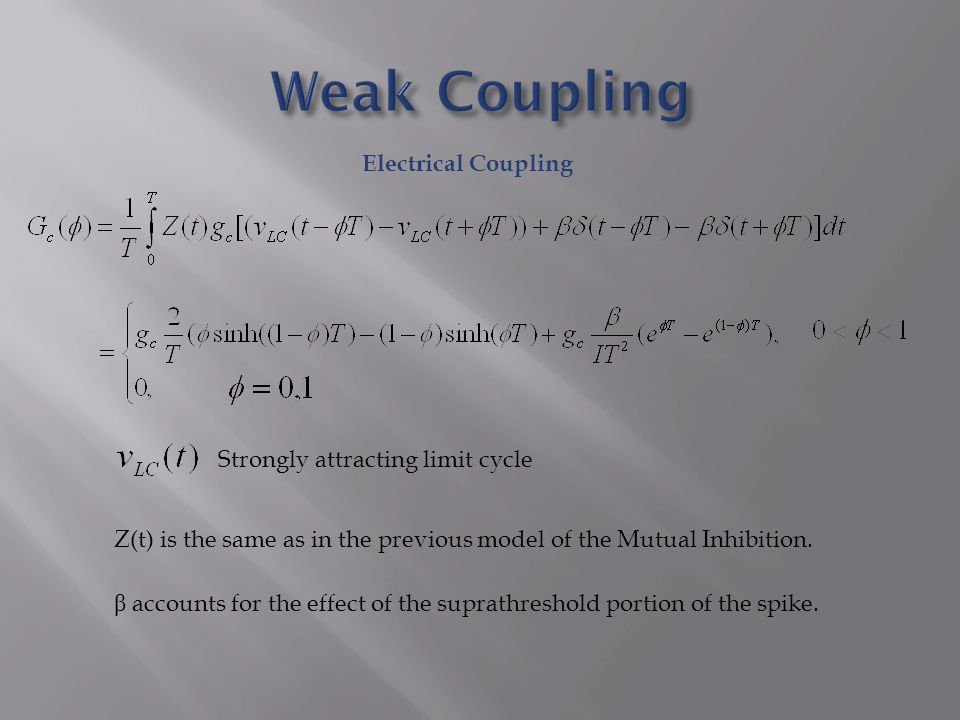 Electrical Coupling Strongly attracting limit cycle Z(t) is the same as in the previous model of the Mutual Inhibition.