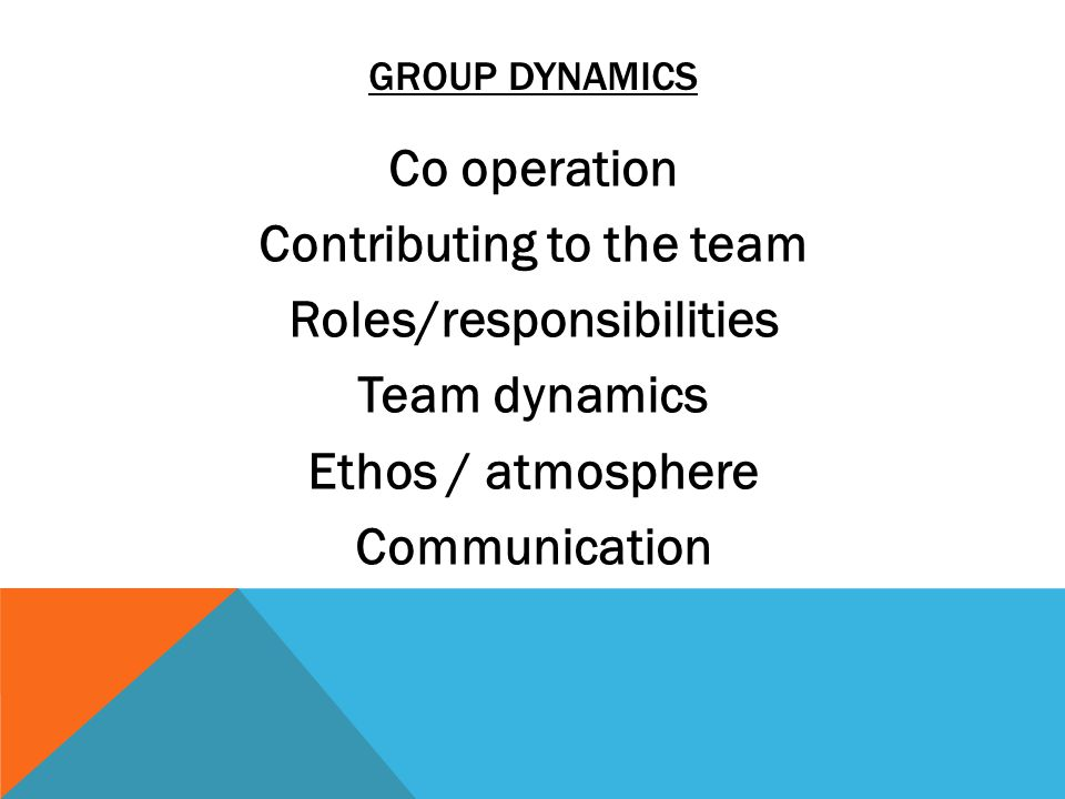Co operation Contributing to the team Roles/responsibilities Team dynamics Ethos / atmosphere Communication