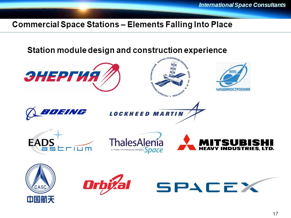 17 International Space Consultants Commercial Space Stations – Elements Falling Into Place Station module design and construction experience