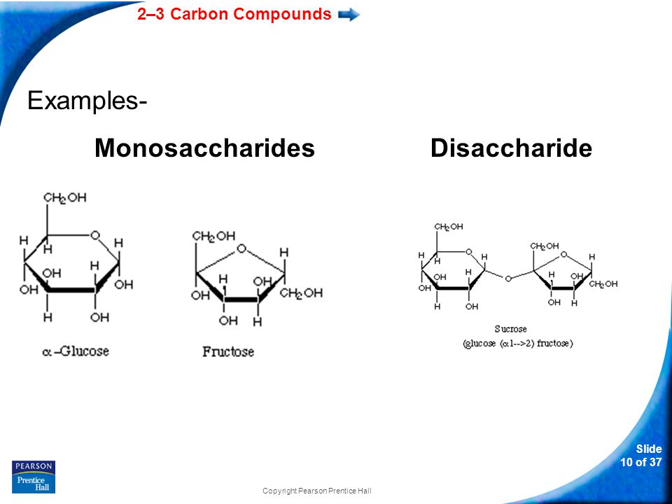 2–3 Carbon Compounds Slide 10 of 37 Copyright Pearson Prentice Hall Examples- MonosaccharidesDisaccharide