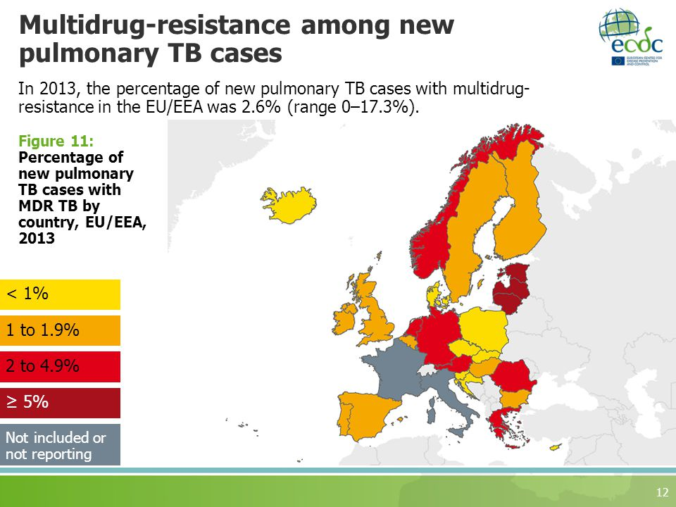 Multidrug-resistance among new pulmonary TB cases 12 Figure 11: Percentage of new pulmonary TB cases with MDR TB by country, EU/EEA, to 4.9% 1 to 1.9% ≥ 5% < 1% Not included or not reporting In 2013, the percentage of new pulmonary TB cases with multidrug- resistance in the EU/EEA was 2.6% (range 0–17.3%).