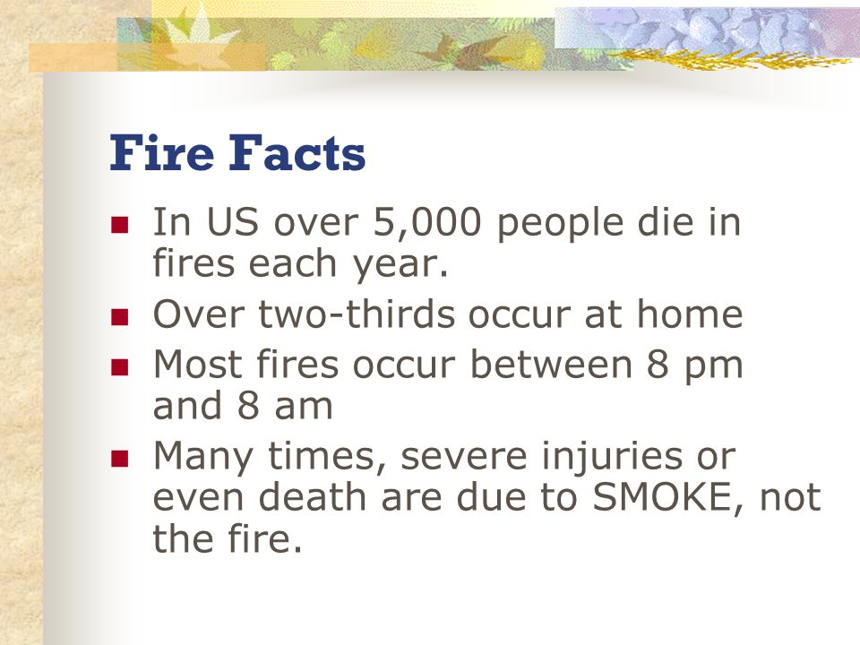 Fire Facts In US over 5,000 people die in fires each year.