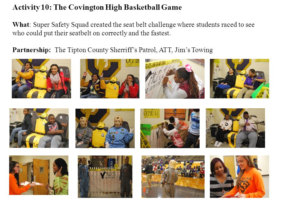 Activity 10: The Covington High Basketball Game What: Super Safety Squad created the seat belt challenge where students raced to see who could put their seatbelt on correctly and the fastest.
