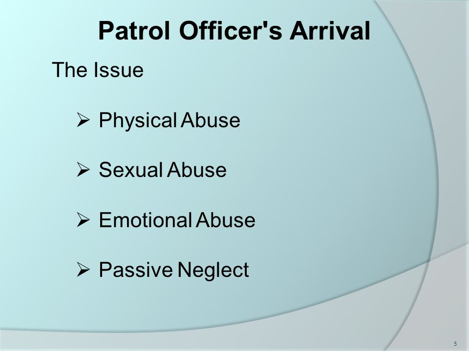 Patrol Officer s Arrival The Issue  Physical Abuse  Sexual Abuse  Emotional Abuse  Passive Neglect 5