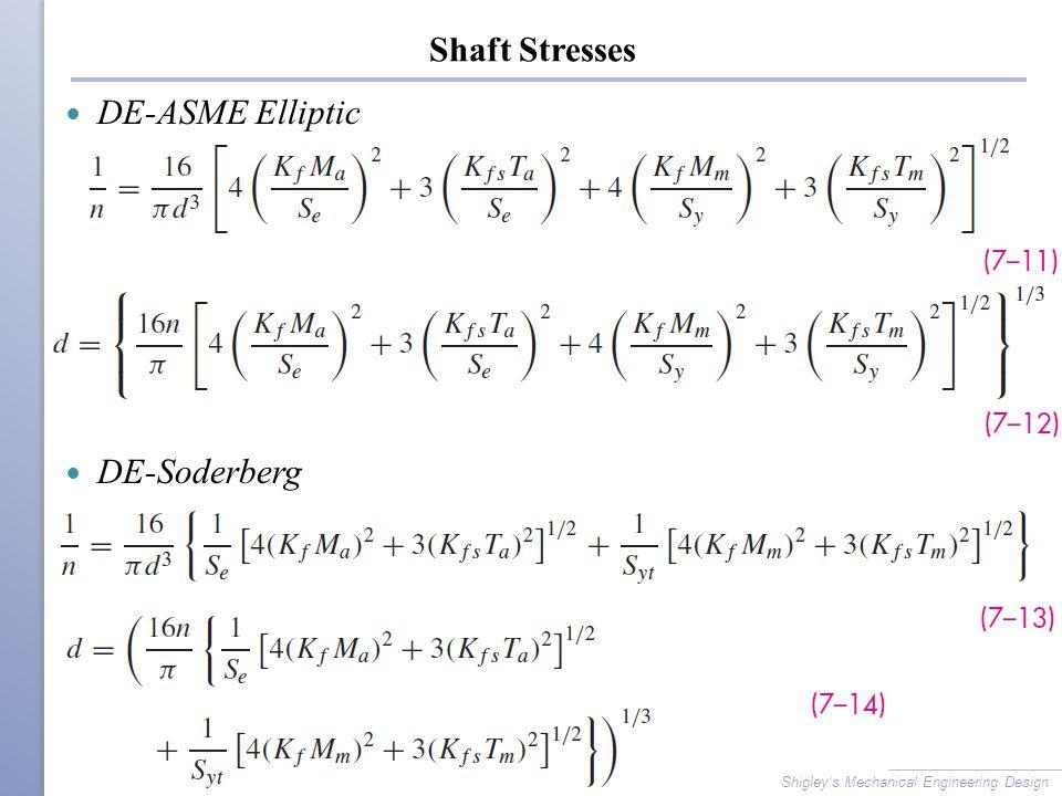 Shaft Stresses DE-ASME Elliptic DE-Soderberg Shigley's Mechanical Engineering Design