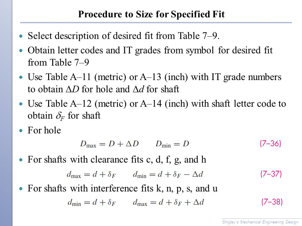 Procedure to Size for Specified Fit Select description of desired fit from Table 7–9.