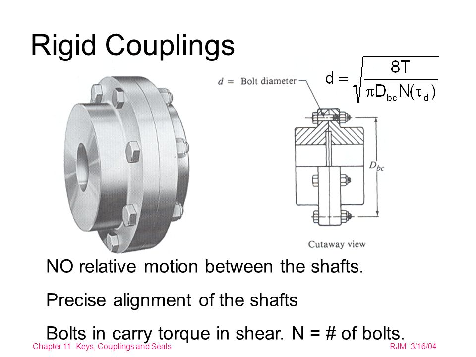 Chapter 11 Keys, Couplings and SealsRJM 3/16/04 Rigid Couplings NO relative motion between the shafts.