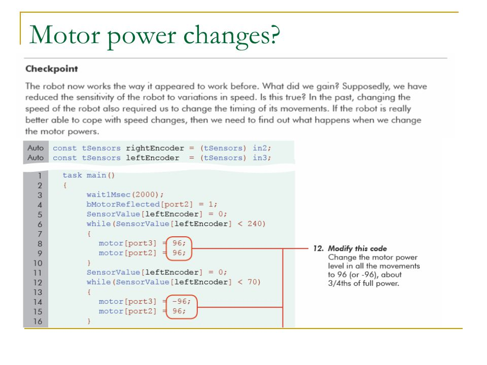 Motor power changes