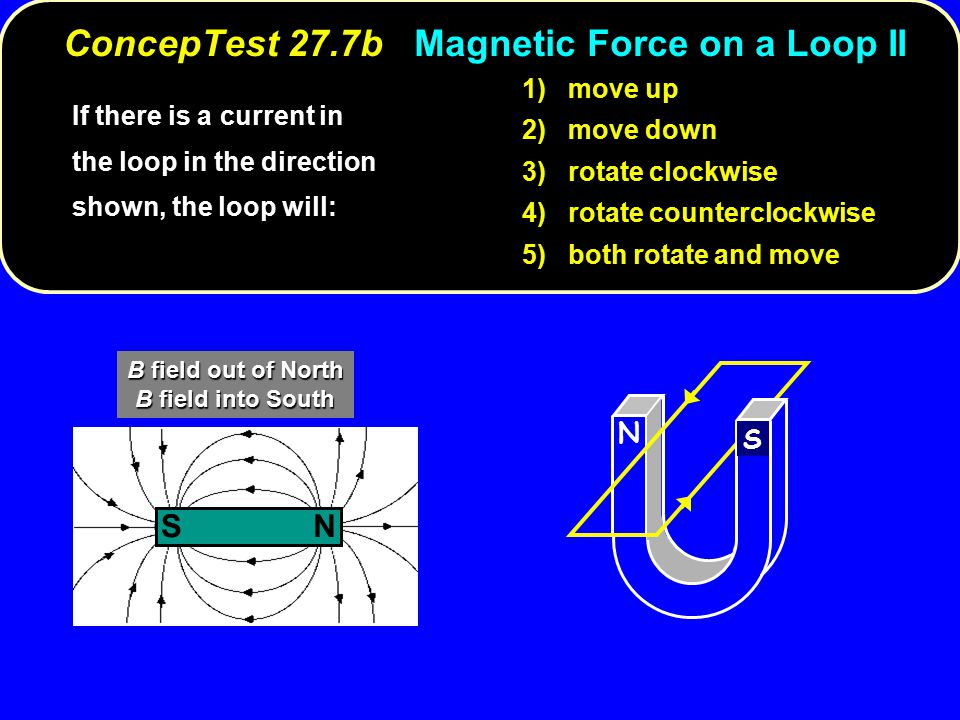 If there is a current in the loop in the direction shown, the loop will: 1) move up 2) move down 3) rotate clockwise 4) rotate counterclockwise 5) both rotate and move N S NS B field out of North B field into South ConcepTest 27.7b Magnetic Force on a Loop II