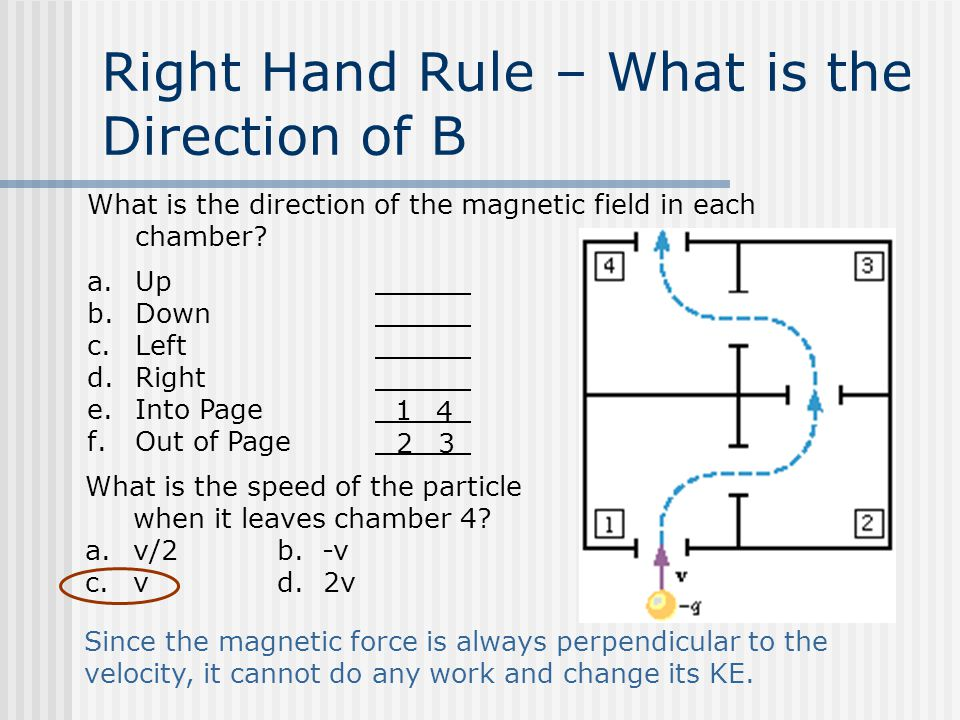 Right Hand Rule – What is the Direction of B What is the direction of the magnetic field in each chamber.