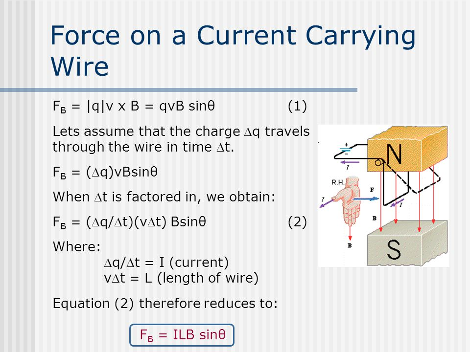 Force on a Current Carrying Wire F B = |q|v x B = qvB sinθ(1) Lets assume that the charge q travels through the wire in time t.