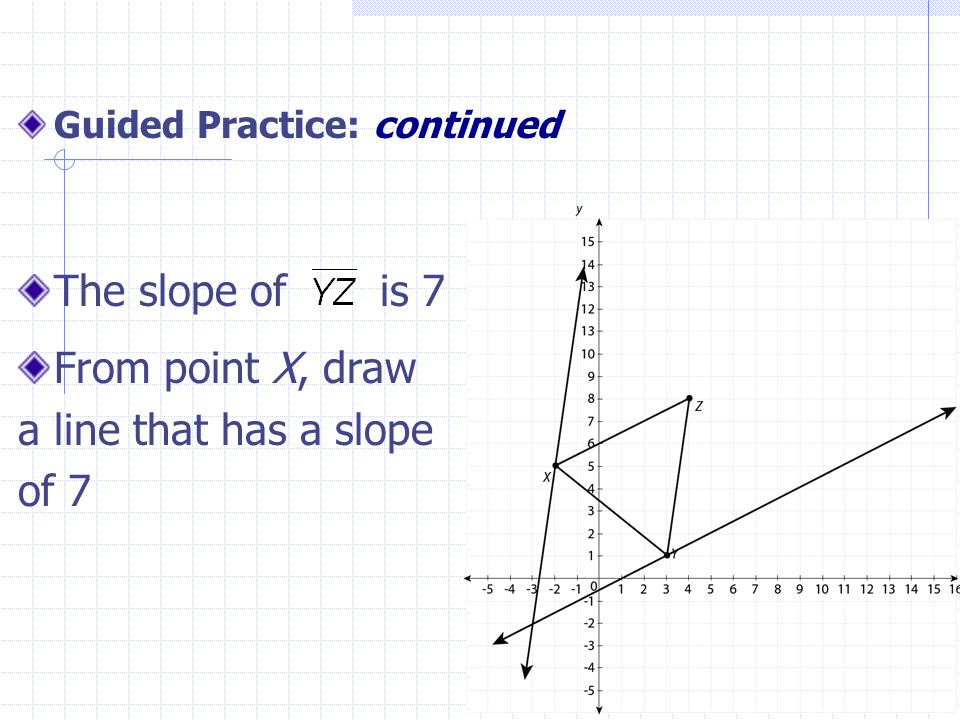 9 Guided Practice: continued The slope of is 7 From point X, draw a line that has a slope of 7