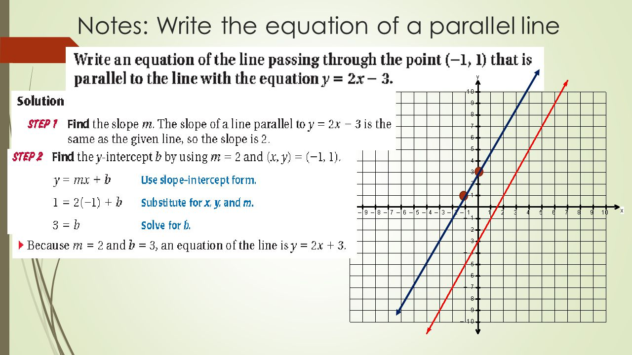 Parallel and perpendicular lines chapter 3 section ppt download 7 notes write the equation of a parallel line falaconquin
