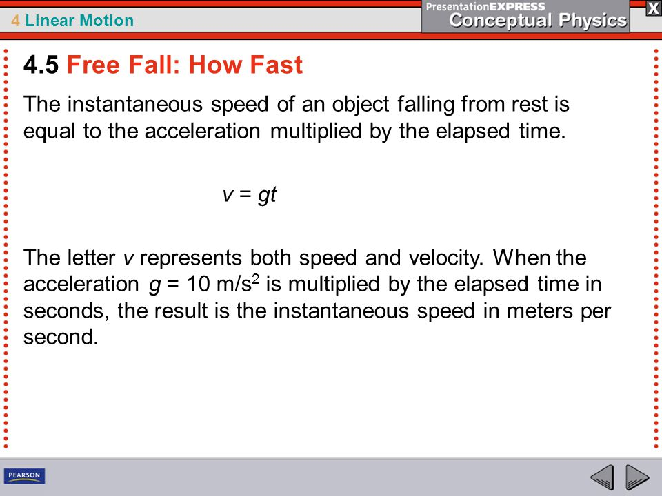 4 Linear Motion The instantaneous speed of an object falling from rest is equal to the acceleration multiplied by the elapsed time.