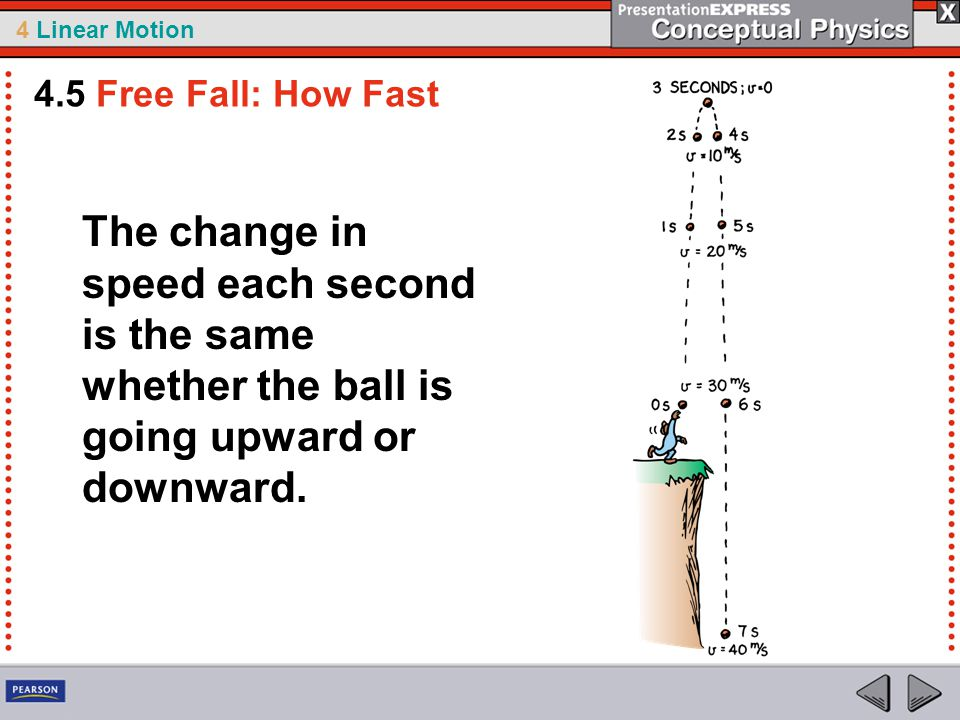 4 Linear Motion The change in speed each second is the same whether the ball is going upward or downward.