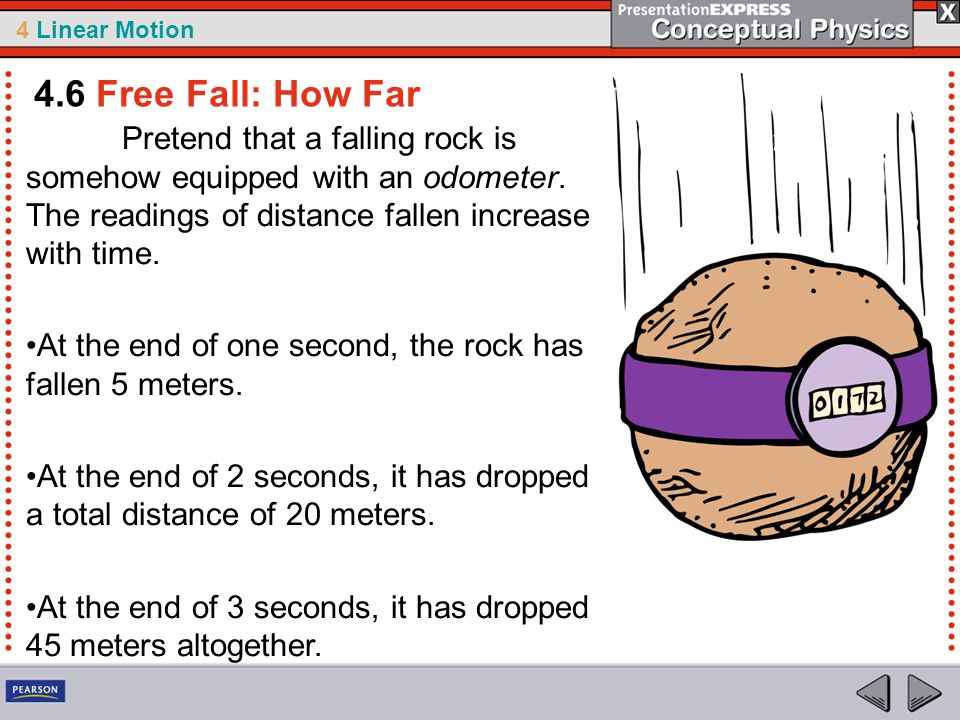4 Linear Motion Pretend that a falling rock is somehow equipped with an odometer.
