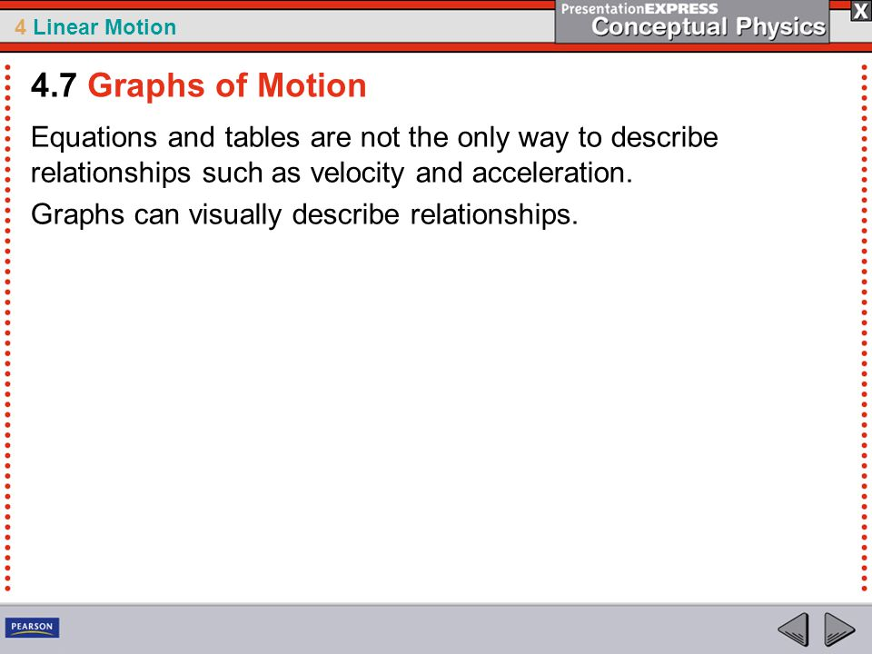 4 Linear Motion Equations and tables are not the only way to describe relationships such as velocity and acceleration.