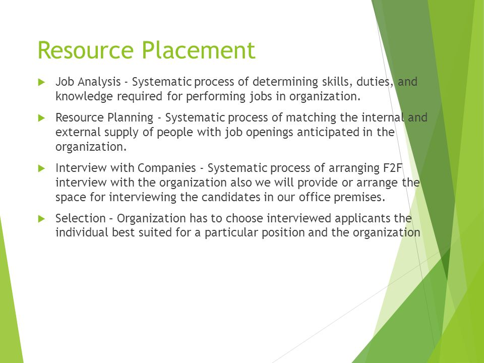 Resource Placement  Job Analysis - Systematic process of determining skills, duties, and knowledge required for performing jobs in organization.