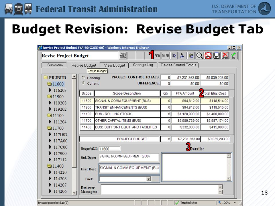 Budget Revision: Revise Budget Tab 18