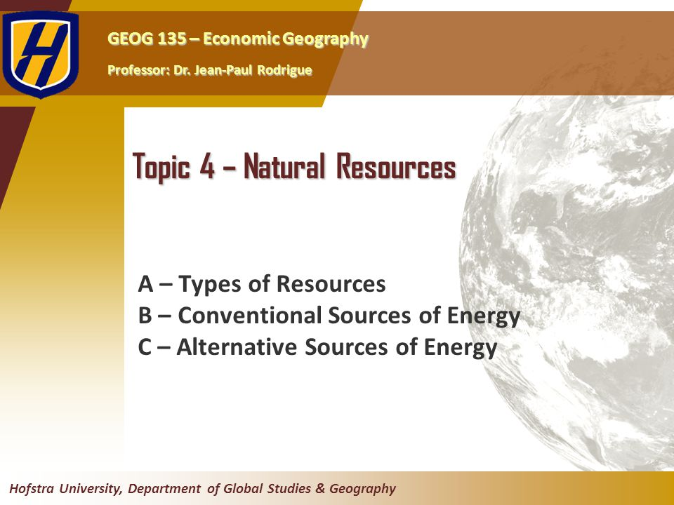GEOG 135 – Economic Geography Professor: Dr.
