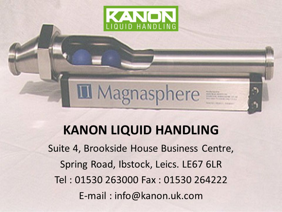 KANON LIQUID HANDLING Suite 4, Brookside House Business Centre, Spring Road, Ibstock, Leics.