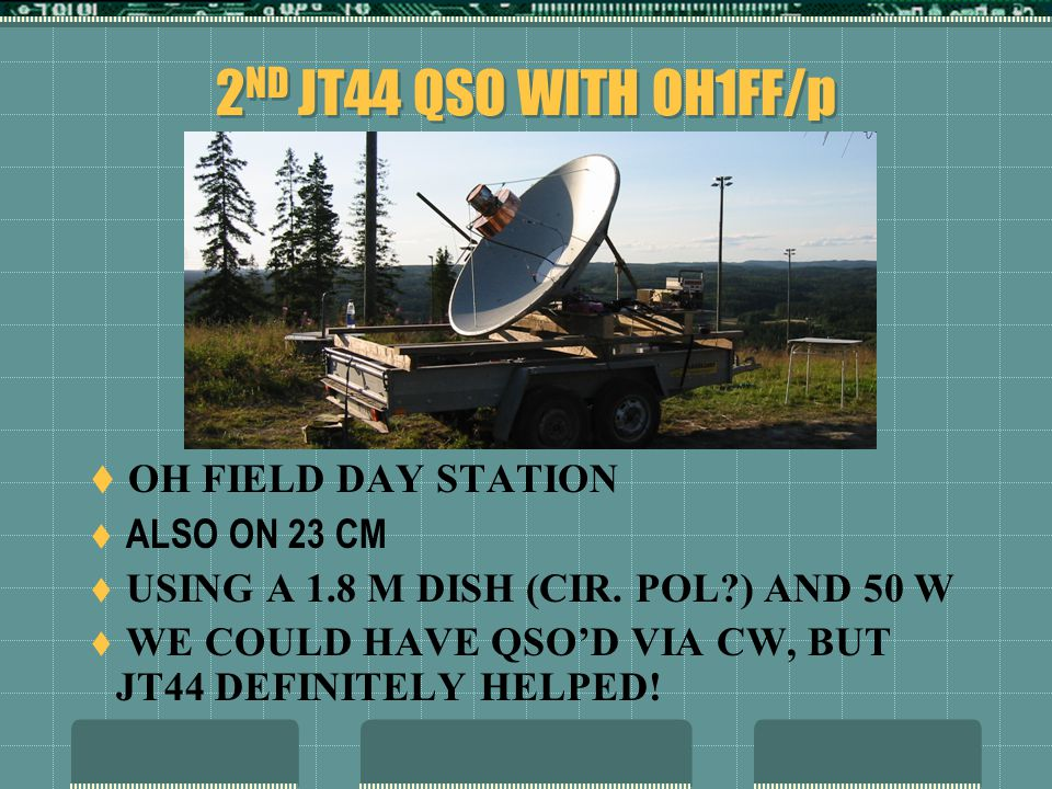 2 ND JT44 QSO WITH OH1FF/p  OH FIELD DAY STATION  ALSO ON 23 CM  USING A 1.8 M DISH (CIR.