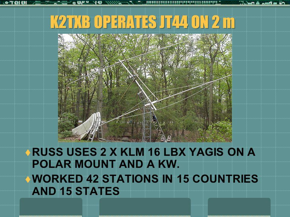 K2TXB OPERATES JT44 ON 2 m  RUSS USES 2 X KLM 16 LBX YAGIS ON A POLAR MOUNT AND A KW.