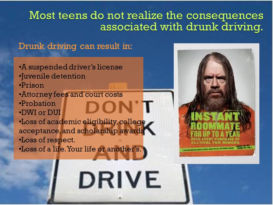 Most teens do not realize the consequences associated with drunk driving.