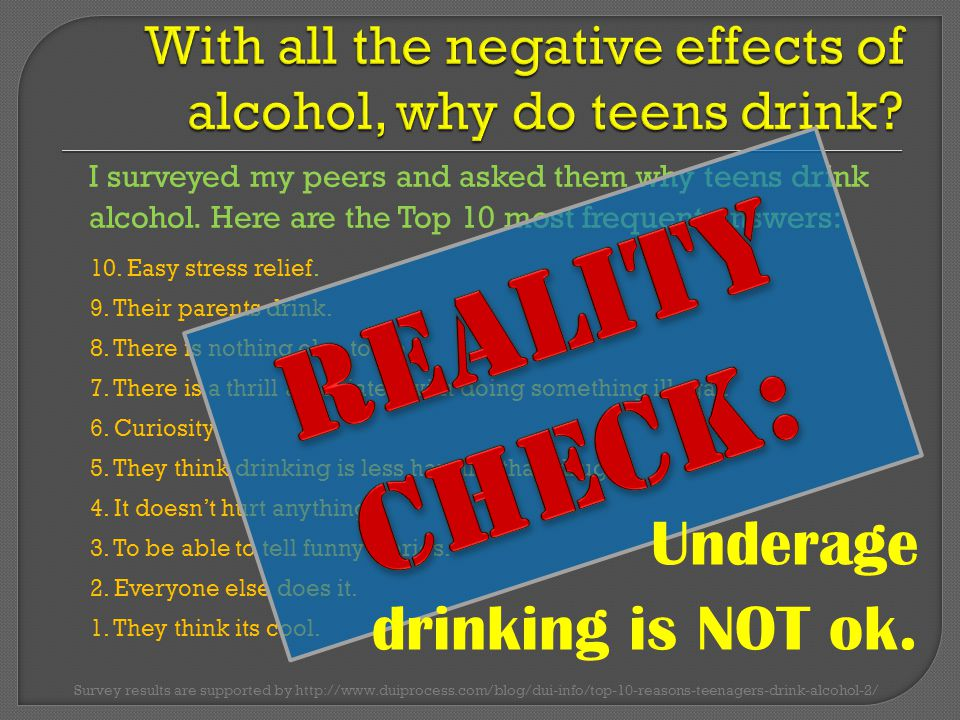 I surveyed my peers and asked them why teens drink alcohol.