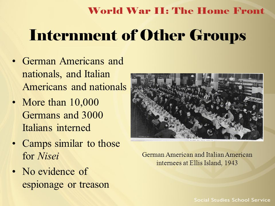 World War II The Home Front Essential Questions How Did America - Map of italian internment camps in us