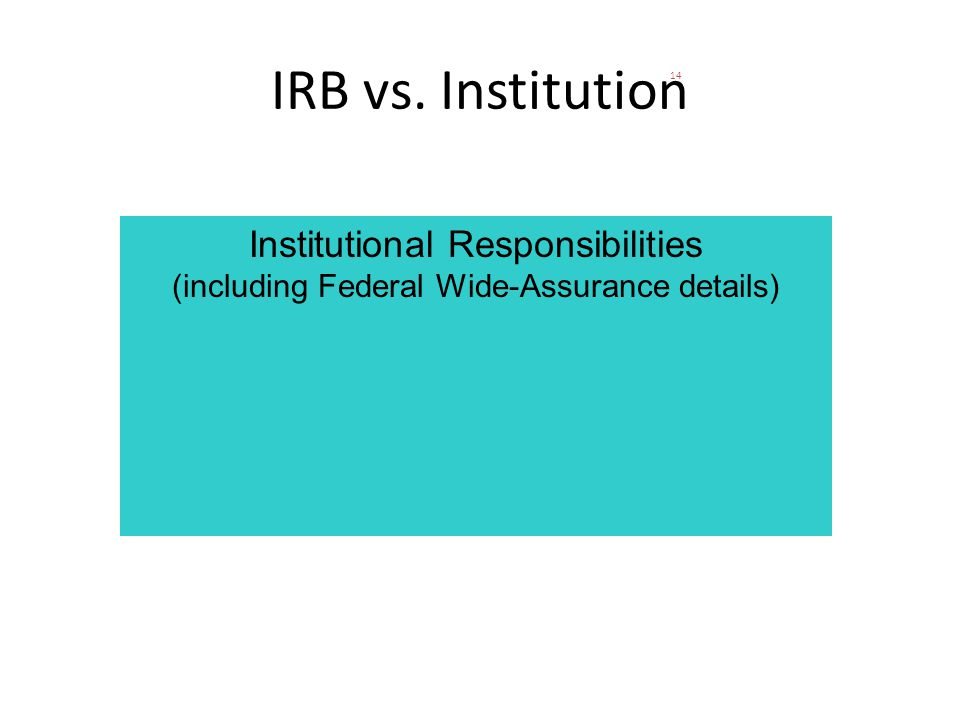 14 IRB vs. Institution Institutional Responsibilities (including Federal Wide-Assurance details)