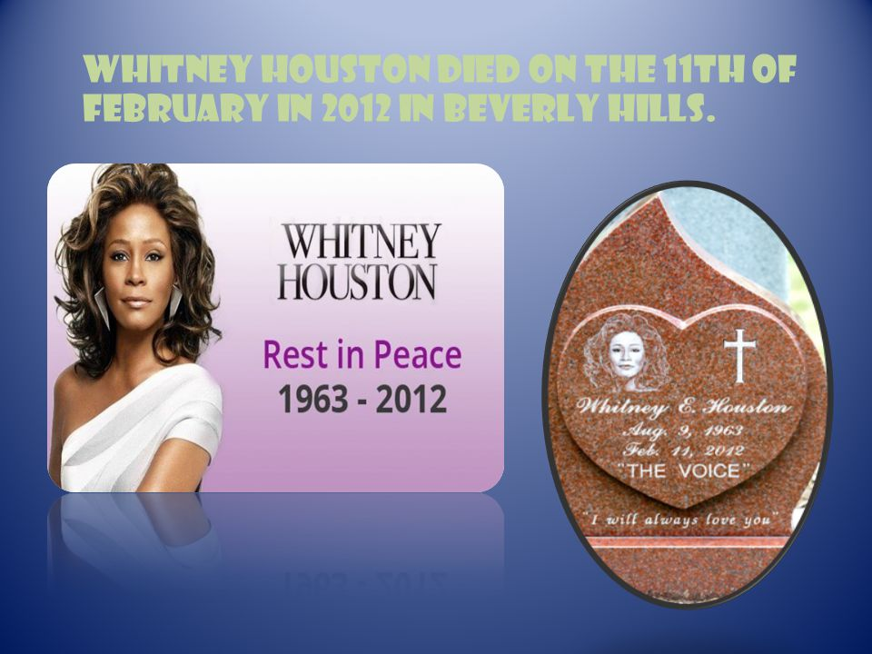 Whitney Houston died on the 11th of February in 2012 in Beverly Hills.