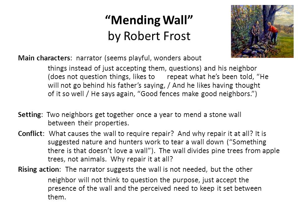 a mending wall by frost persuasive argument