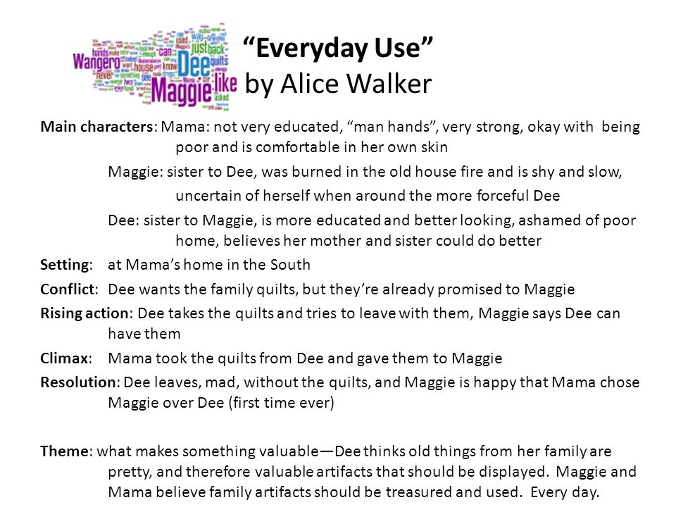 character analysis of mama in everyday use The short story everyday use by alice walker helps teach students about characterization and conflict once the class has read this excellent piece, they can talk about how they would have reacted and whether they think mama made the right decision.