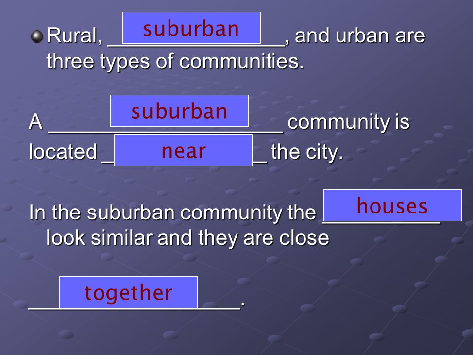 Rural, _______________, and urban are three types of communities.