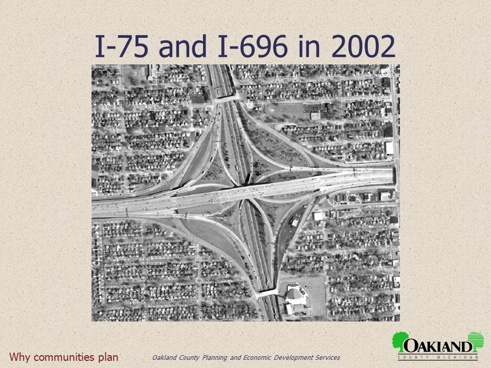 Oakland County Planning and Economic Development Services I-75 and I-696 in 2002 Why communities plan