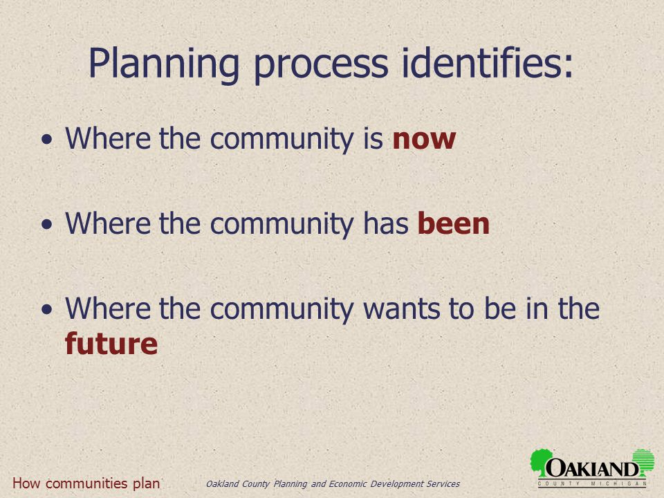Oakland County Planning and Economic Development Services Planning process identifies: Where the community is now Where the community has been Where the community wants to be in the future How communities plan