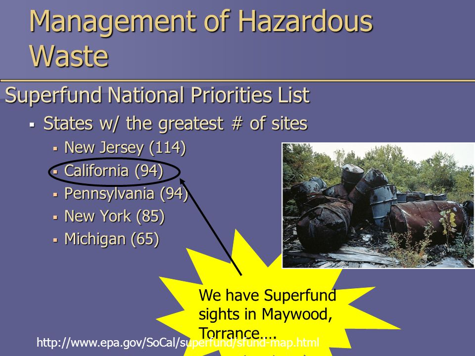 Management of Hazardous Waste Superfund National Priorities List  States w/ the greatest # of sites  New Jersey (114)  California (94)  Pennsylvania (94)  New York (85)  Michigan (65) We have Superfund sights in Maywood, Torrance….