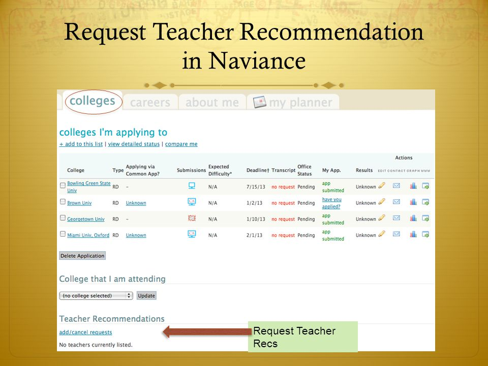 Request Teacher Recommendation in Naviance Request Teacher Recs