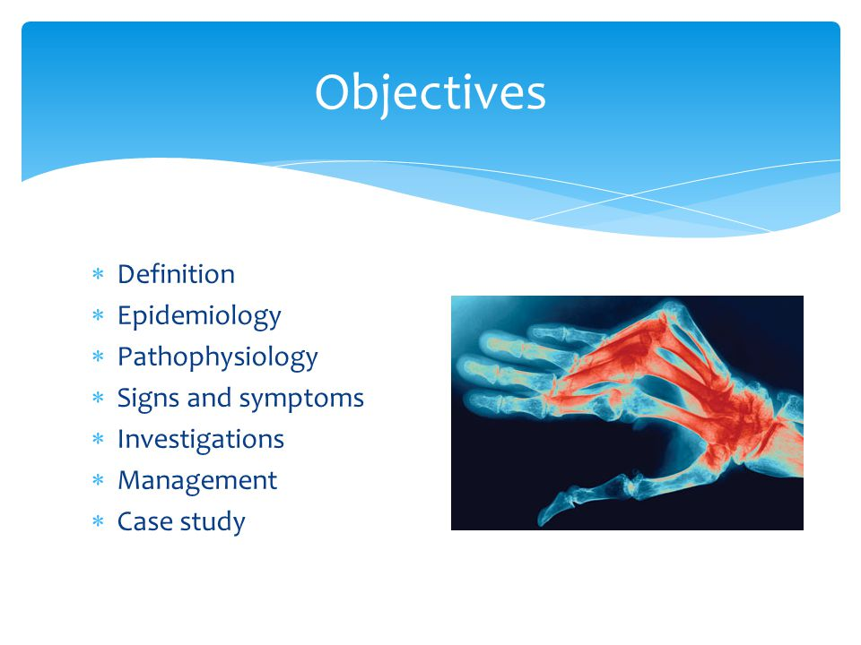 Definition  Epidemiology  Pathophysiology  Signs and symptoms  Investigations  Management  Case study Objectives