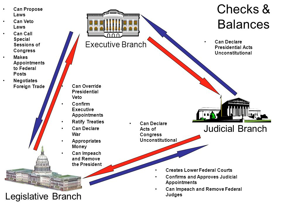 Executive Branch Judicial Branch Legislative Branch Can Declare Presidential Acts Unconstitutional Can Propose Laws Can Veto Laws Can Call Special Sessions of Congress Makes Appointments to Federal Posts Negotiates Foreign Trade Can Override Presidential Veto Confirm Executive Appointments Ratify Treaties Can Declare War Appropriates Money Can Impeach and Remove the President Creates Lower Federal Courts Confirms and Approves Judicial Appointments Can Impeach and Remove Federal Judges Can Declare Acts of Congress Unconstitutional Checks & Balances