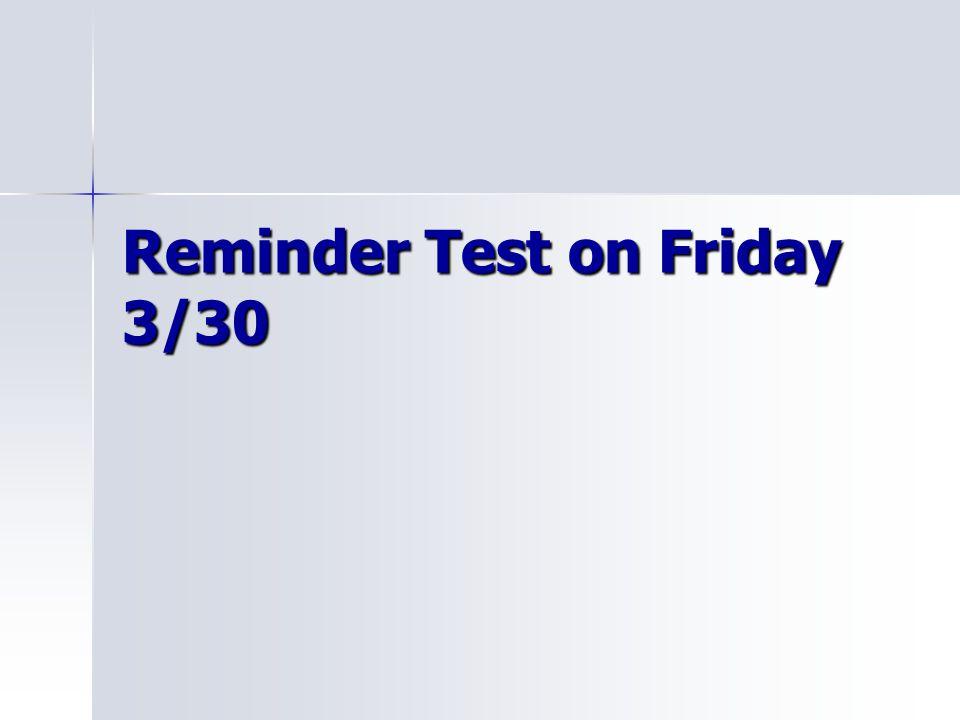 Reminder Test on Friday 3/30