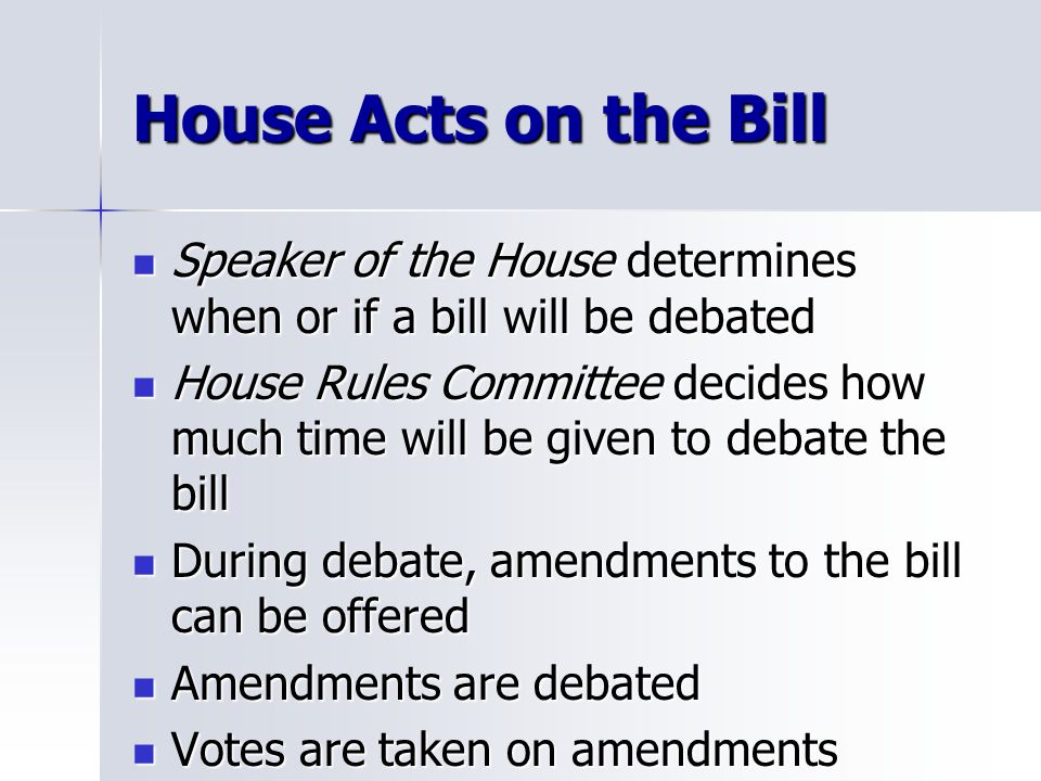 House Acts on the Bill Speaker of the House determines when or if a bill will be debated Speaker of the House determines when or if a bill will be debated House Rules Committee decides how much time will be given to debate the bill House Rules Committee decides how much time will be given to debate the bill During debate, amendments to the bill can be offered During debate, amendments to the bill can be offered Amendments are debated Amendments are debated Votes are taken on amendments Votes are taken on amendments