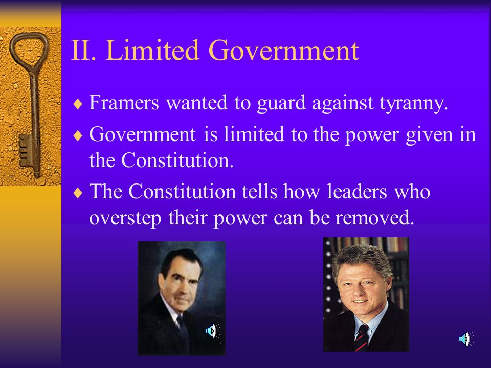 I. Popular Sovereignty  The people hold the ultimate authority.
