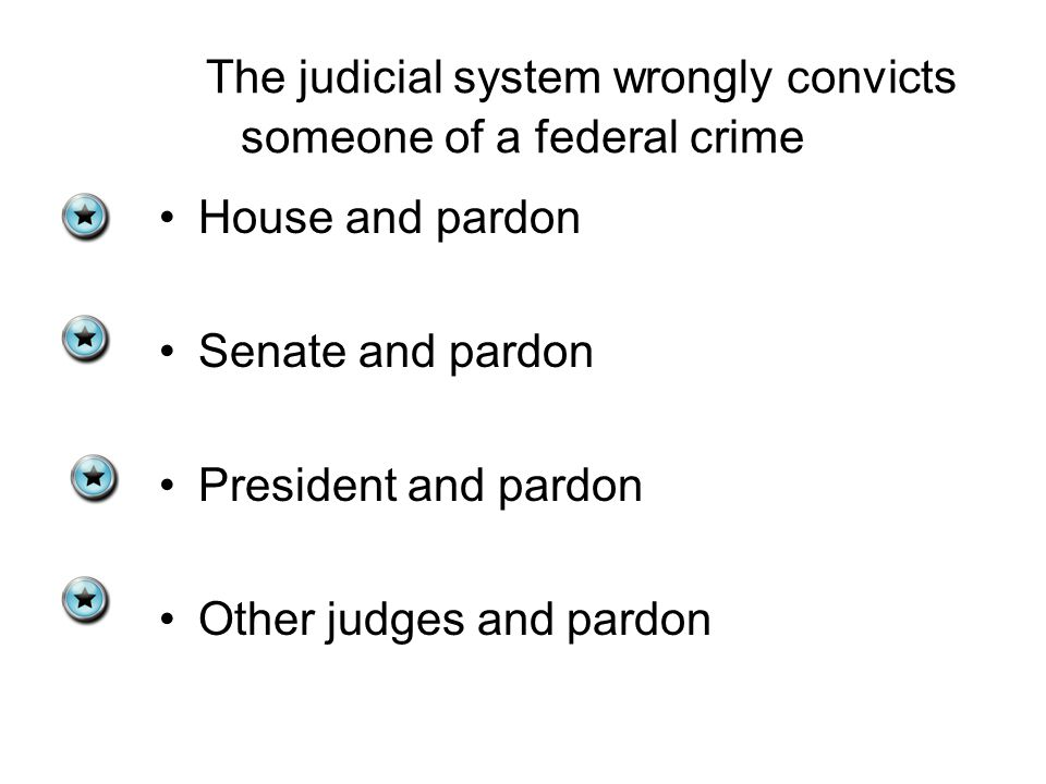 The judicial system wrongly convicts someone of a federal crime House and pardon Senate and pardon President and pardon Other judges and pardon