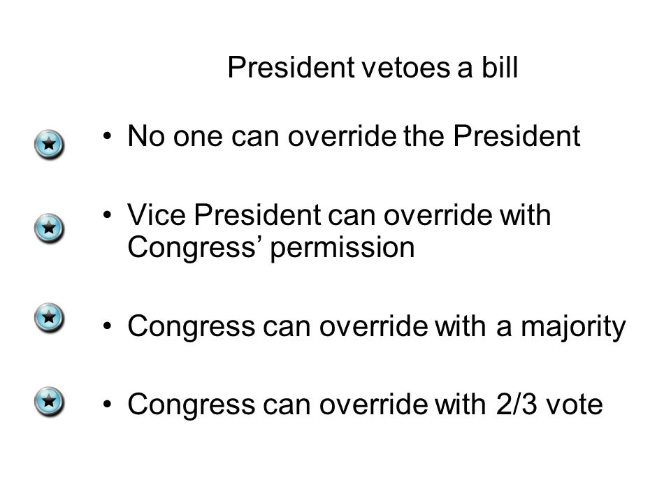 President vetoes a bill No one can override the President Vice President can override with Congress' permission Congress can override with a majority Congress can override with 2/3 vote