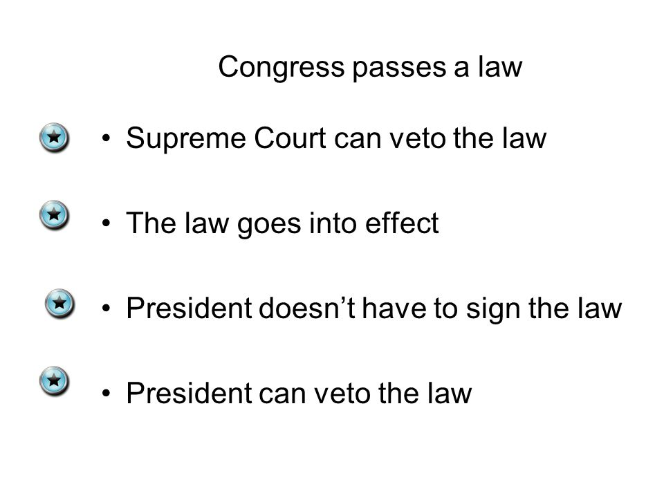 Congress passes a law Supreme Court can veto the law The law goes into effect President doesn't have to sign the law President can veto the law