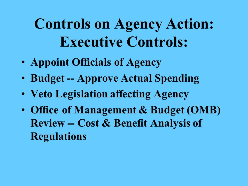 Controls on Agency Action: Executive Controls: Appoint Officials of Agency Budget -- Approve Actual Spending Veto Legislation affecting Agency Office of Management & Budget (OMB) Review -- Cost & Benefit Analysis of Regulations