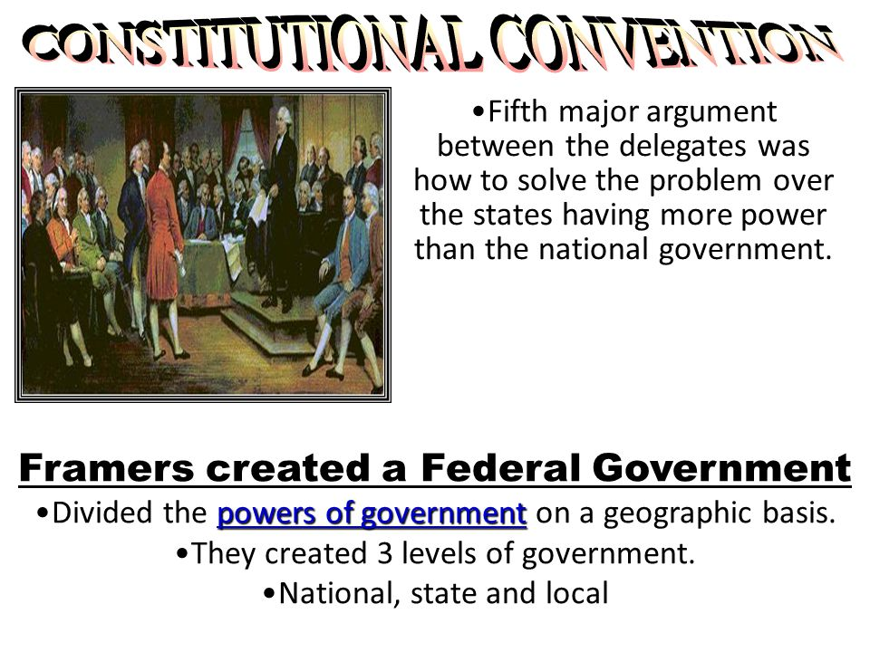 Fifth major argument between the delegates was how to solve the problem over the states having more power than the national government.