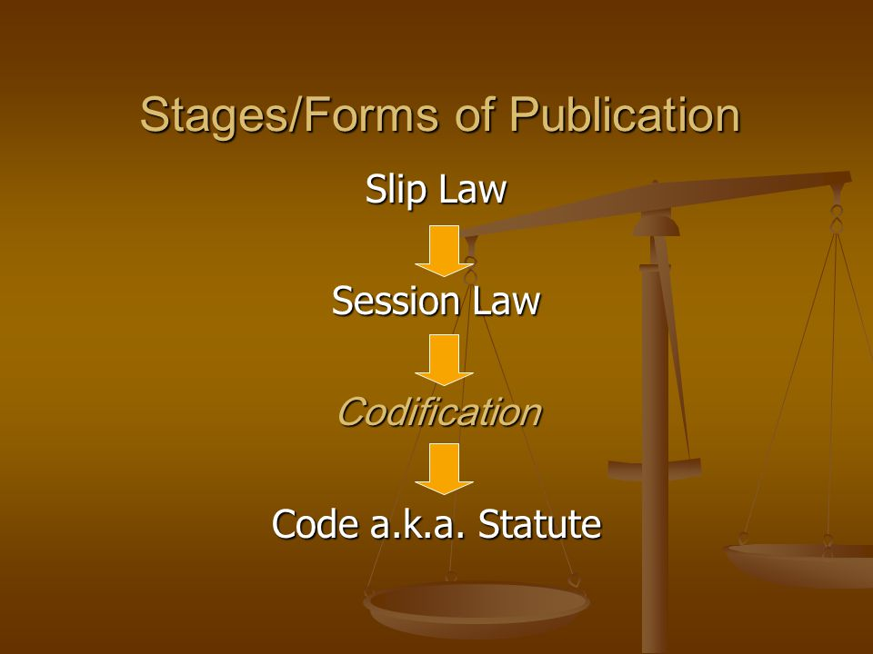 Stages/Forms of Publication Slip Law Session Law Codification Code a.k.a. Statute